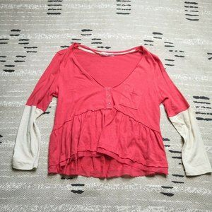 Free People We The Free Orange V Neck Top Small